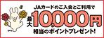 JAカードのご入会とご利用で、最大10,000円相当のポイントプレゼント!
